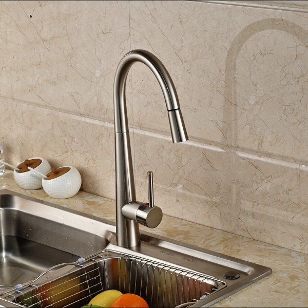 brushed nickel kitchen sink Amoskeag Brushed Nickel Finish Kitchen Sink Faucet with
