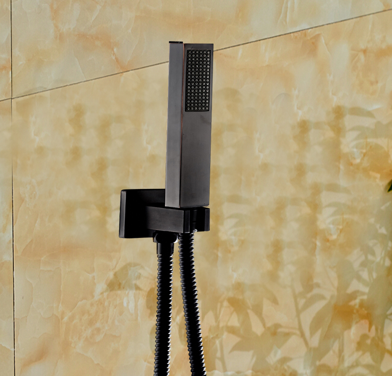 Clifty Oil Rubbed Bronze Hot Amp Cold Water LED Rain Fall Shower Set With Handheld Shower Amp Tub