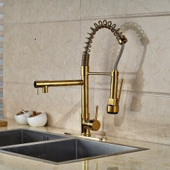 Replacement Kitchen Sprayer Sink Light Cornet Gold Finish Faucet With Dual Spouts ...