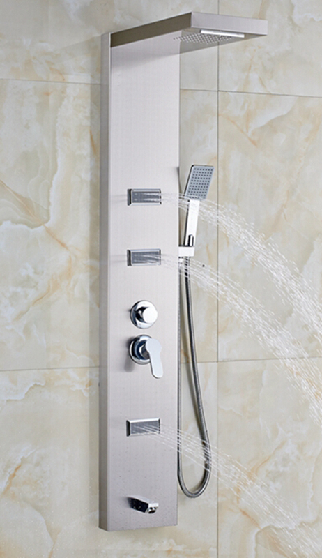 Mertensia Chrome Finish Wall Mounted Massage Shower Panel System  Funitic