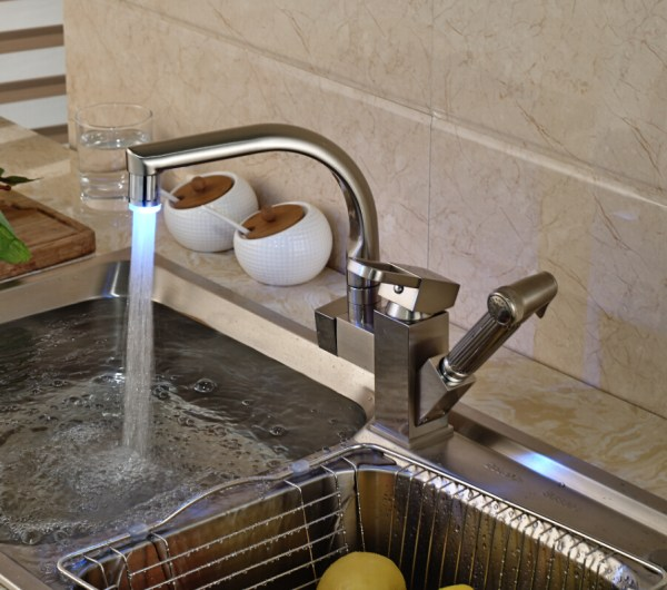 brushed nickel kitchen sink Shades Brushed Nickel Kitchen Sink Faucet with Pullout