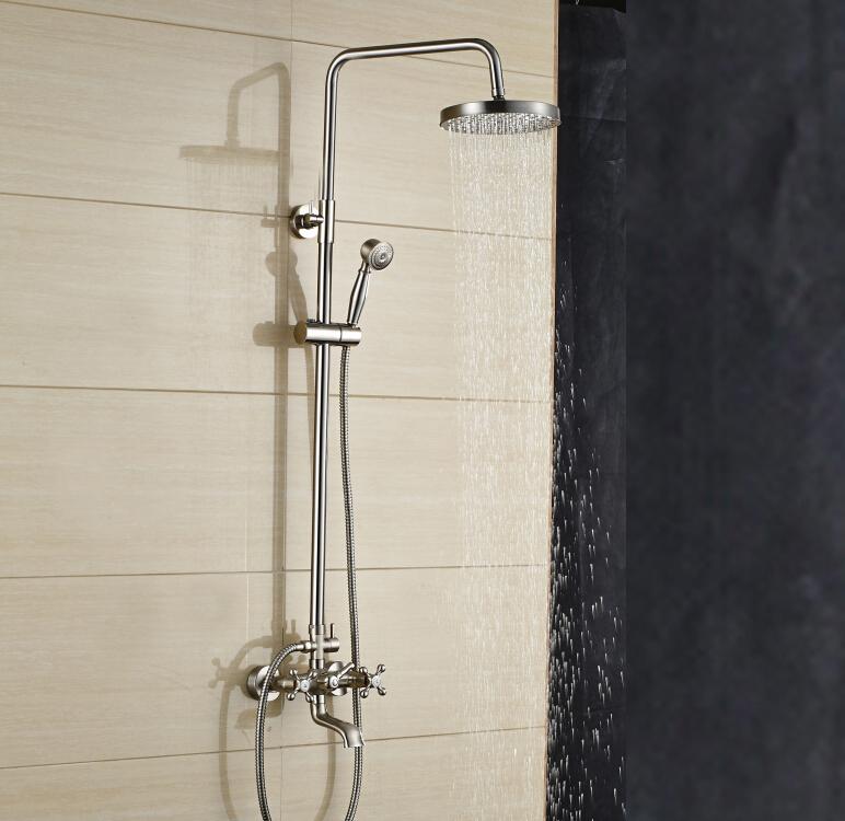 motion faucet kitchen knife mazama 8 inch wall mount brushed nickel rain shower head ...