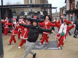 Breakdancing Santa performance