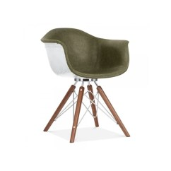Eames Leather Chair Dining Wooden Childrens Rocking Inspired Armchair Industrial Faux In Vintage Green And Walnut Legs