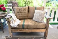 Pallet wood outdoor sofa reveal - Funky Junk ...