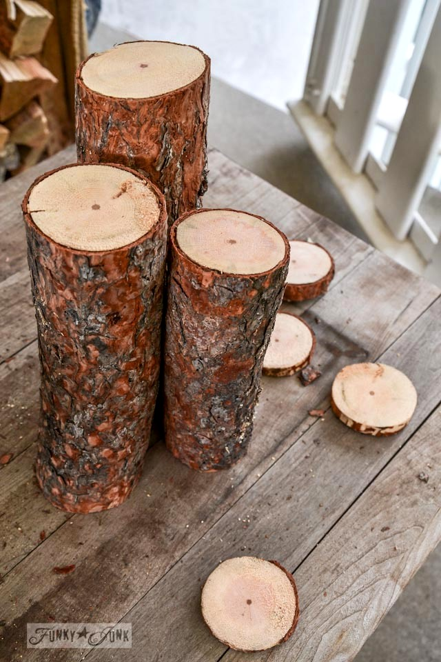 Nature and junk inspired Christmas log candle