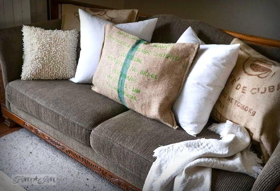 no sew bean bag chair back cushions burlap coffee sack sofa pillowsfunky junk interiors