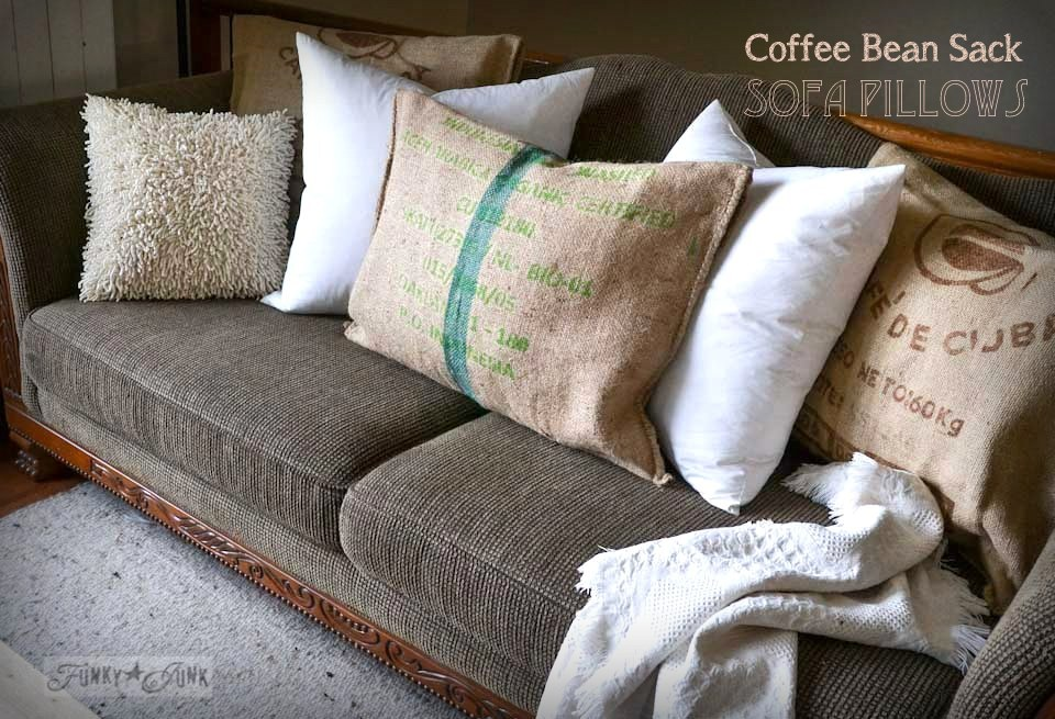 no sew bean bag chair dining seat covers burlap coffee sack sofa pillowsfunky junk interiors pillows instantly via https