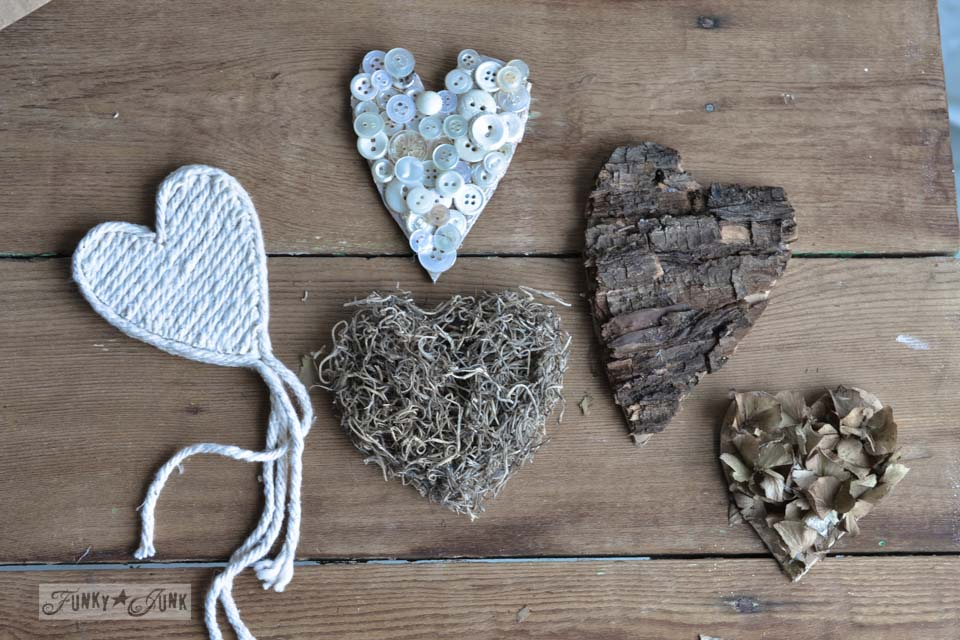 Rustic hearts from salvaged junk for Valentines Day