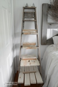 Make an upcycled stepladder side table with shelves ...