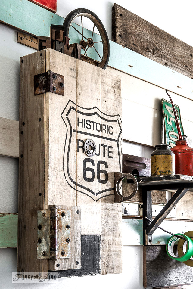 Historic Route 66 stencil with pallet wood storage