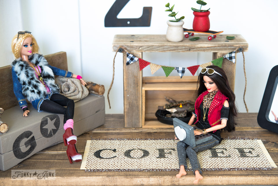 dollhouse sofa black fabric living room ideas upcycled barbie doll house reveal – funky junk interiors