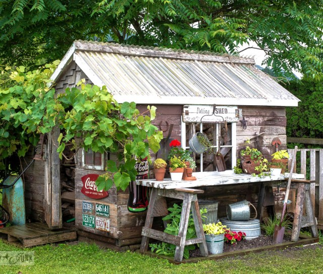 Make This Two Sawhorse Potting Bench In Minutes With Pretty Garden Feature Below And