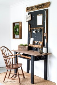 Repurposed coffee table flip-up desk with Office ...