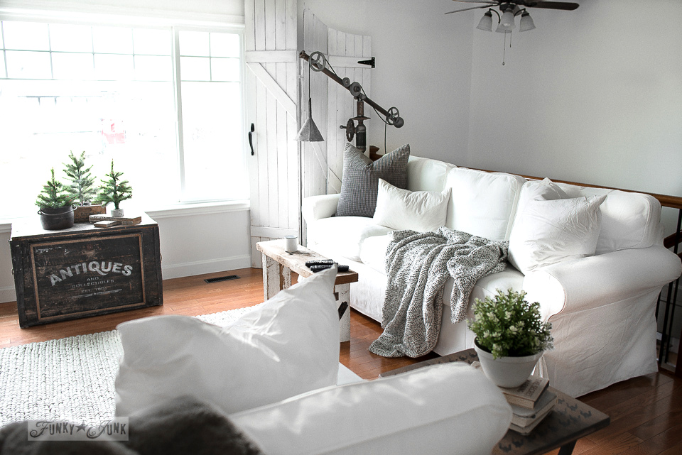 ektorp living room large windows a new winter white 3 5 sofa funky junk ikea sofas in with rustic wood oar wall decor