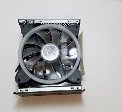 Upon removing the top cover you see the 135mm RGB fan that cools the PSU. This also shows just how compact the PSU is coming injust slightly larger than the fan.