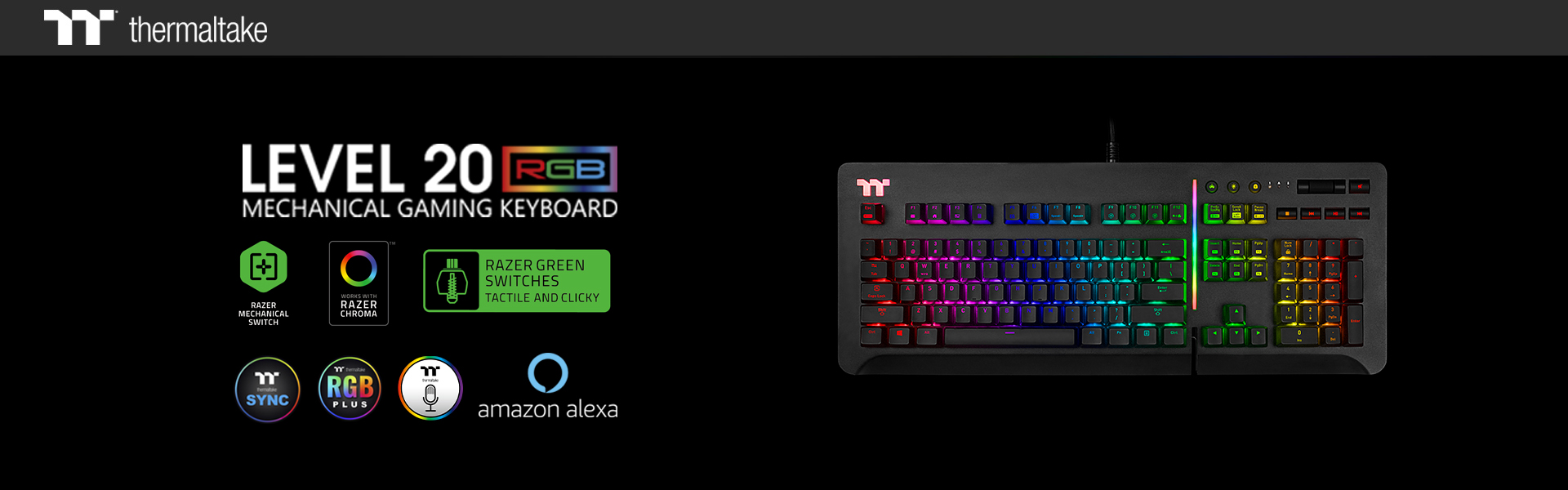 Thermaltake Gaming Level 20 RGB Gaming Keyboard Razer Green Switch 1