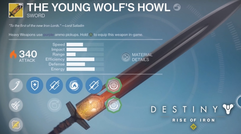 How to Get Young Wolf's Howl Sword in Destiny Rise of Iron