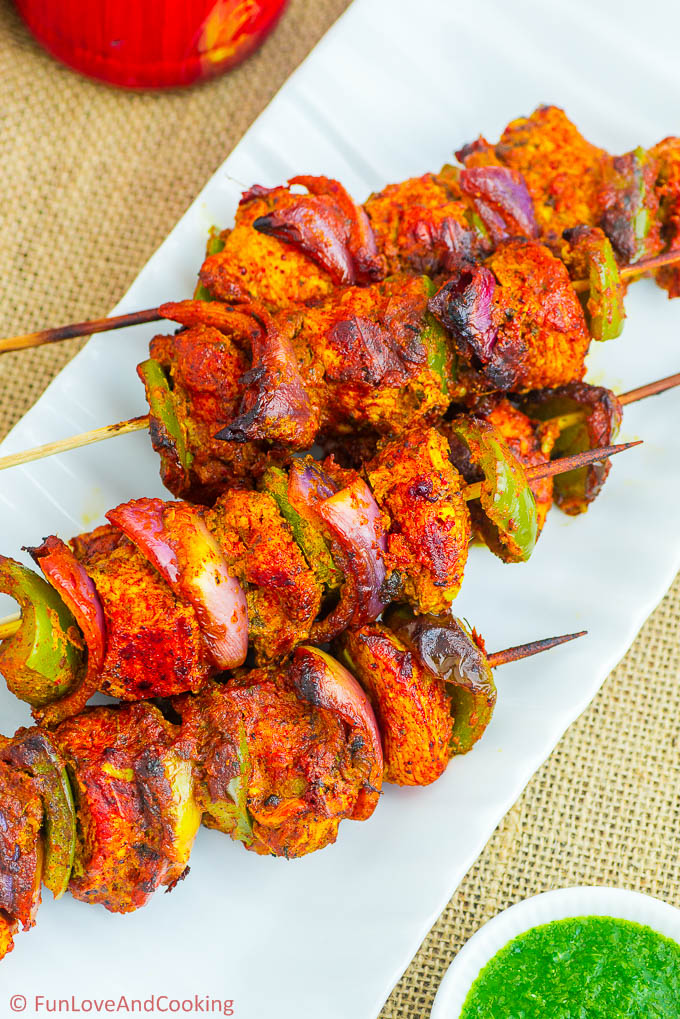 Skewered Chicken Sosaties - Chicken Tikka recipe funloveandcooking.com