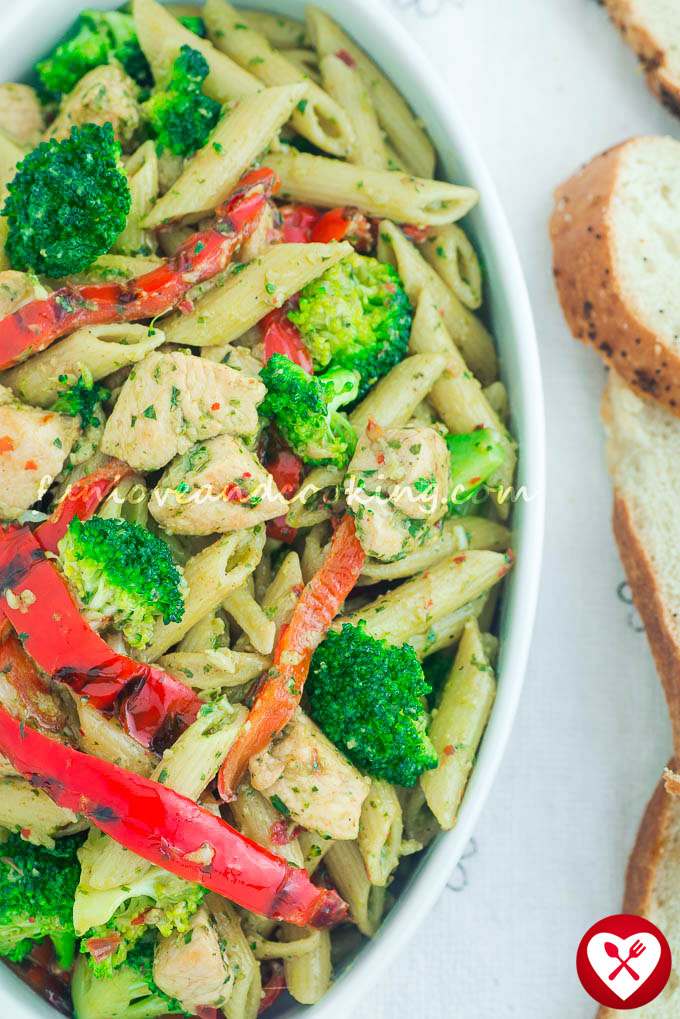 Basil Pesto Pasta with Chicken Recipe funloveandcooking.com