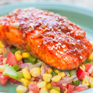 Honey Glazed Salmon recipe funloveandcooking.com