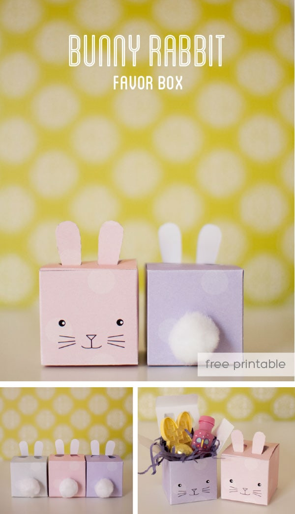 printable bunny favor box