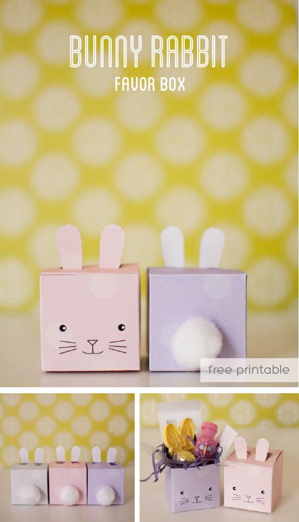 printable bunny favor box