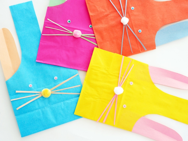colorful paper treat bags shaped like bunnies