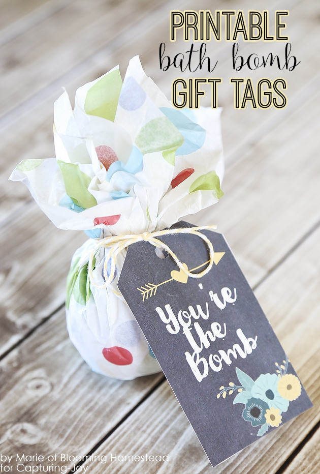 Bath bomb with printable. Gift idea for Teacher Appreciation Week. This site has some great teacher gift ideas.