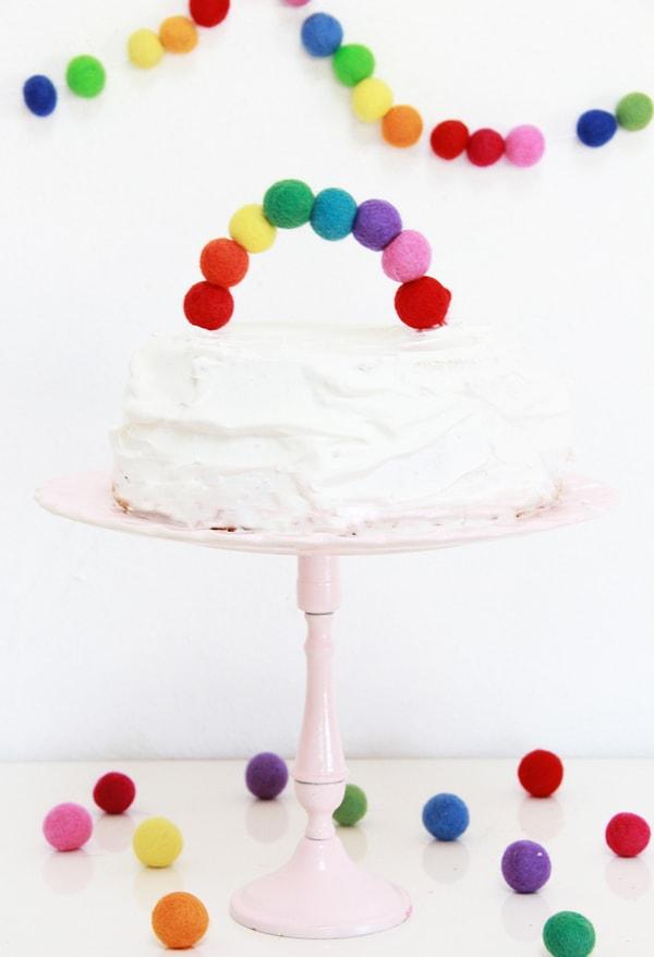 rainbow party ideas: easy diy felt ball rainbow cake topper