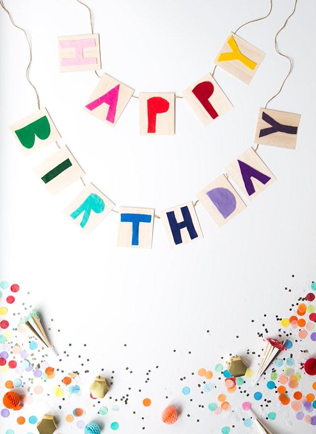 Rainbow party ideas: DIY happy birthday banner rainbow party decor