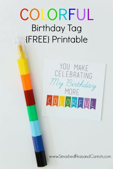 25 Rainbow Party Ideas, send guests home with a colorful crayon or marker set and use this printable favor tag