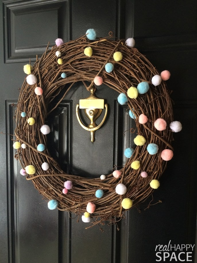 Simple DIY Spring Wreath with Pom Poms