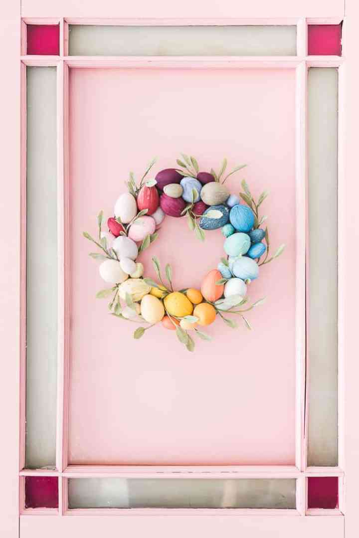 This colorful Easter Egg wreath from The House that Lars Built is the happiest little wreath I ever did see! This is just one of so many amazing DIY Spring wreath ideas here.