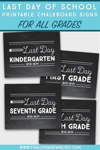mockup of four printable last day of school chalkboard signs