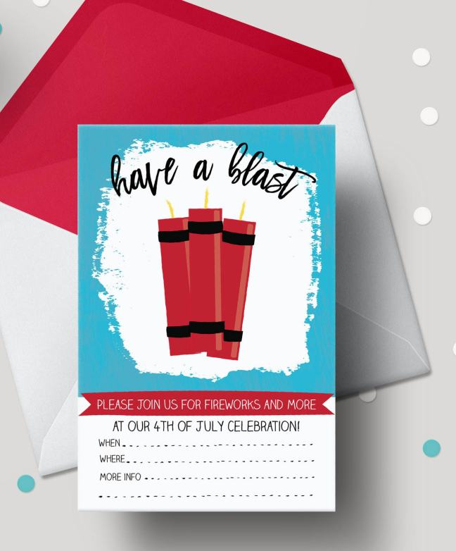4th of July Party Free Printable Invitations Have a Blast