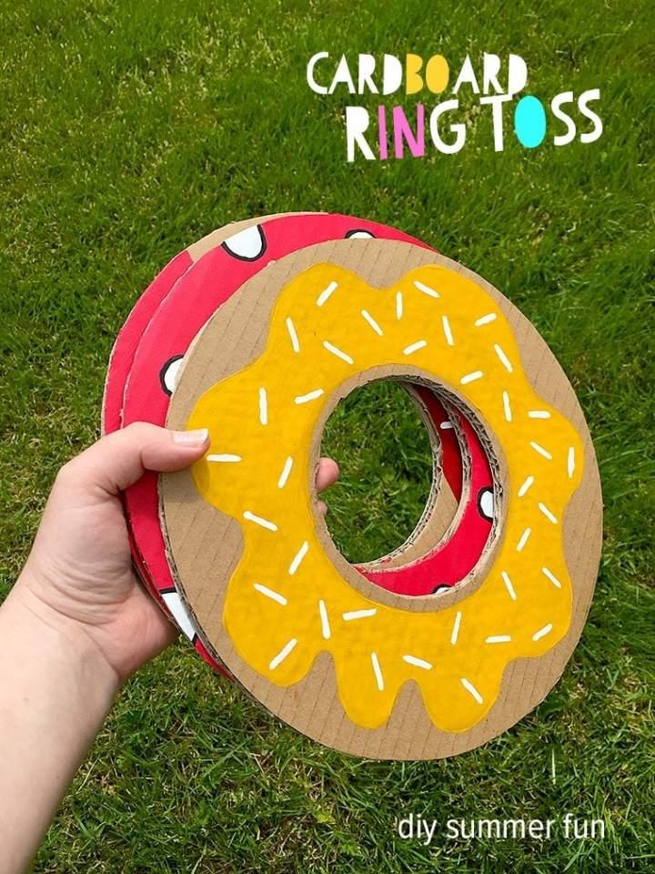 DIY cardboard ring toss game