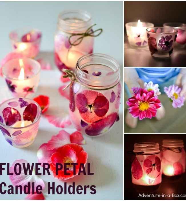 handmade gift idea for Mom: flower petal candle holders.
