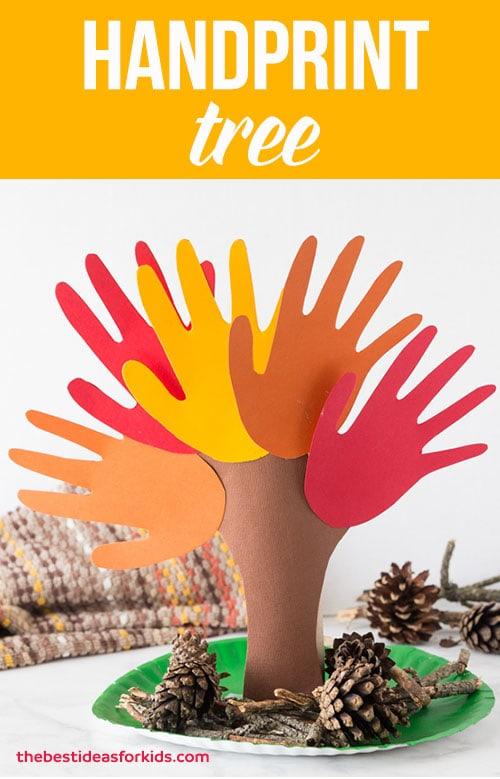 fall handprint tree idea for kids