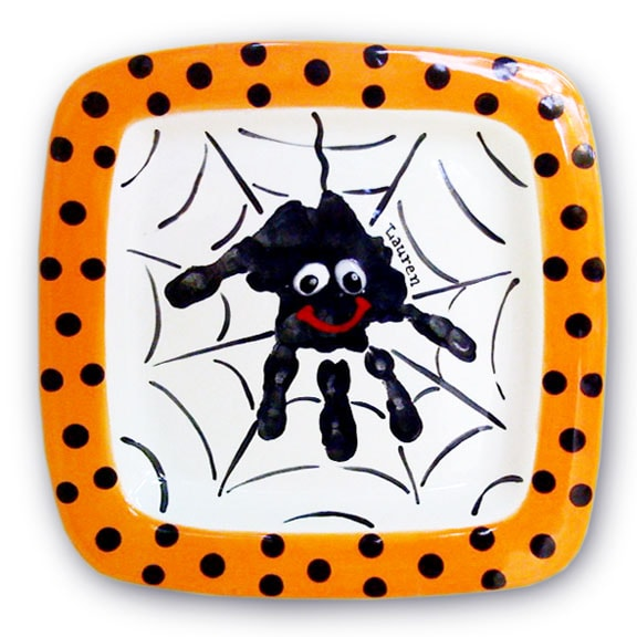 DIY halloween spiderweb handprint platter
