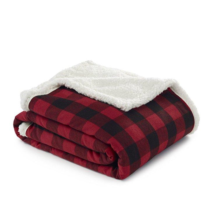 Cozy Eddie Bauer Fleece and Sherpa throw blanket