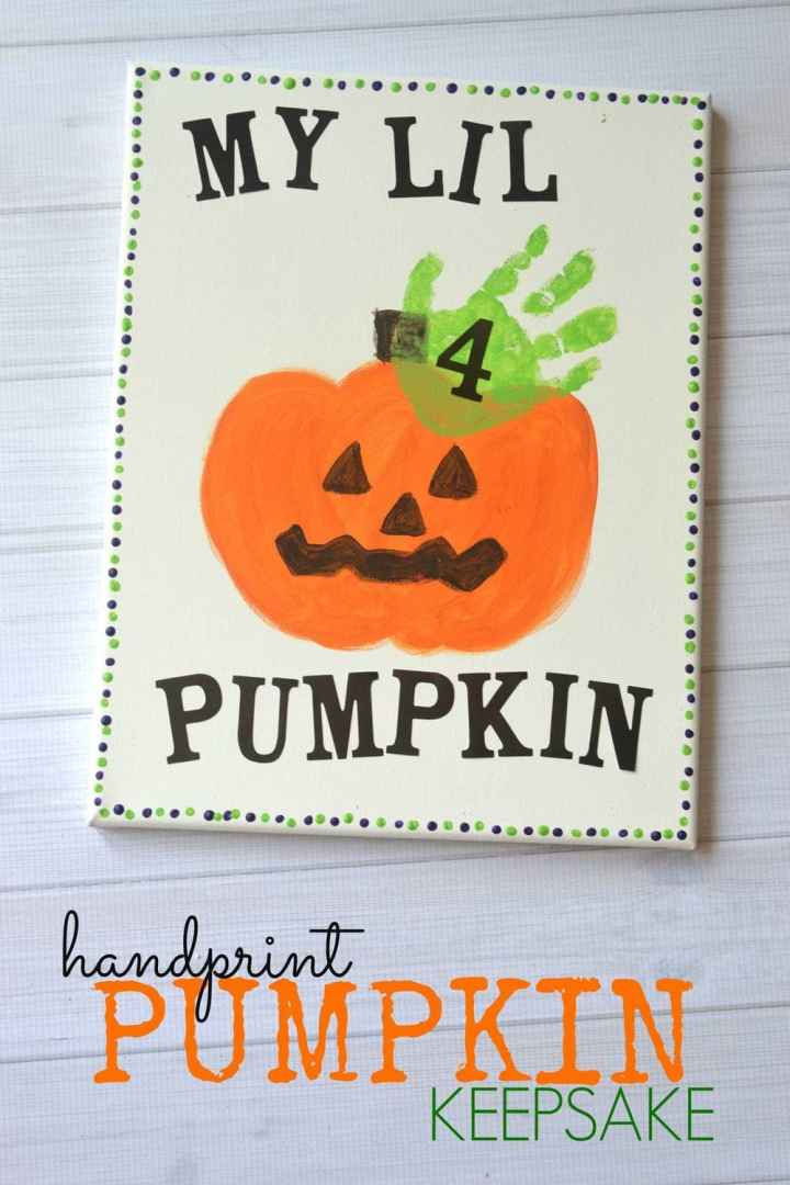 Cute jack o lantern handprint kids craft