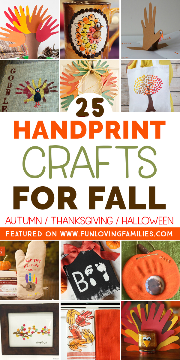 Roundup of 25 handprint crafts for the fall season