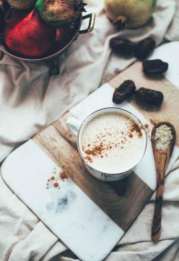 Vegan chai latte with tahini recipe. Perfect cozy drink for Fall!