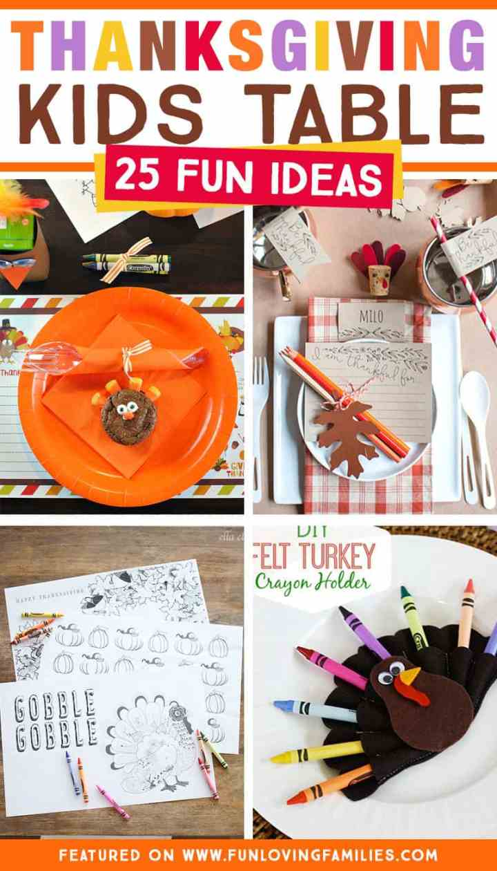 Thanksgiving kids table ideas that will keep the younger ones at your Thanksgiving dinner happy and entertained. You'll find kids table decorations, printable Thanksgiving placemats and activity sheets, plus simple Thanksgiving kids crafts.