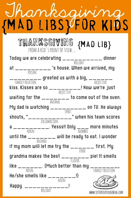 Print out a bunch of these for the kids to do over and over on Thanksgiving. Keep some at the kids table, too.