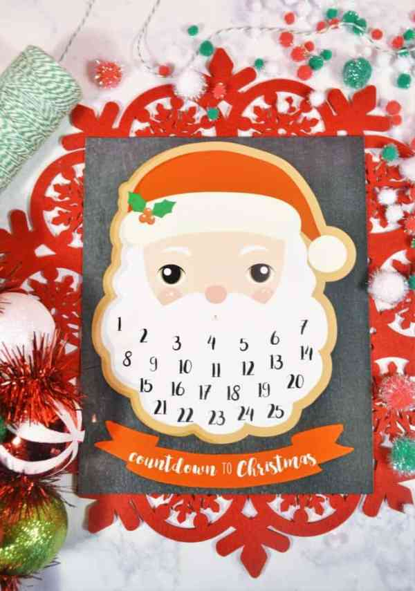 Break out the cotton balls and let the kids fill in Santa's beard with this adorable Christmas countdown calendar. Check out how to get this free printable for Christmas this year. #AdventCalendar #DIYChristmas #ChristmasCountdownIdeas