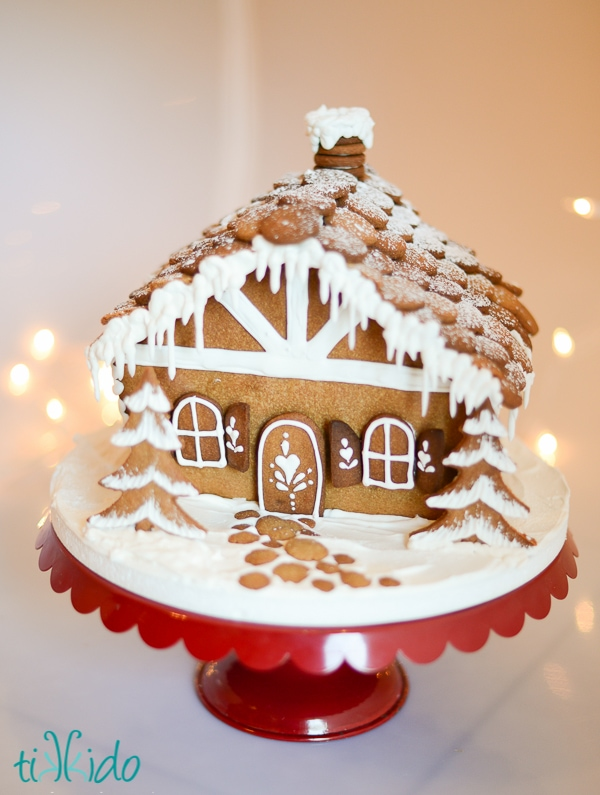 This is a template for making a sweet gingerbread house from scratch. Make a bunch of these and use for a gingerbread decorating party.