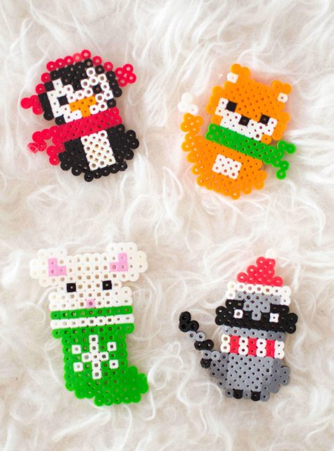 Cute Christmas animals Perler Bead patterns