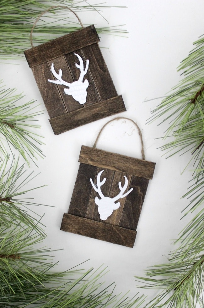Make these rustic ornament signs with popsicle sticks! Check out the rest of the popsicle stick ornaments for some great ideas.
